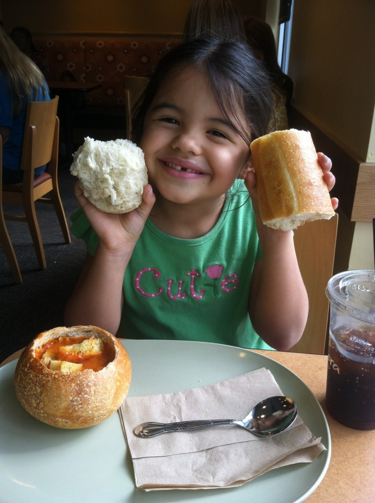 Lucy and I went out to Panera together for a special treat.  It was her first time there, and she loved it!