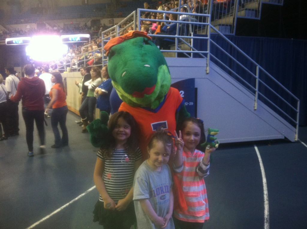At a UF gymnastics meet with our friends Lydia and Marie