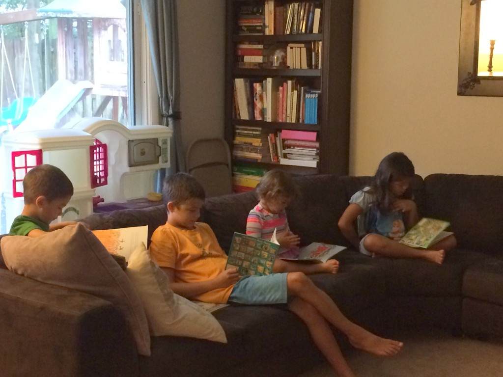 "I love this picture of everyone ""reading."""